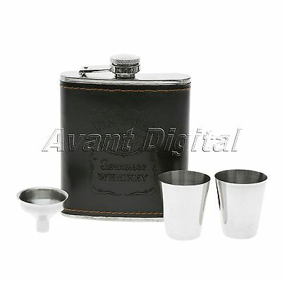 Pocket Stainless Steel Leather Wrapped Liquor Hip Flask Funnel Cup Set 200ml 7oz