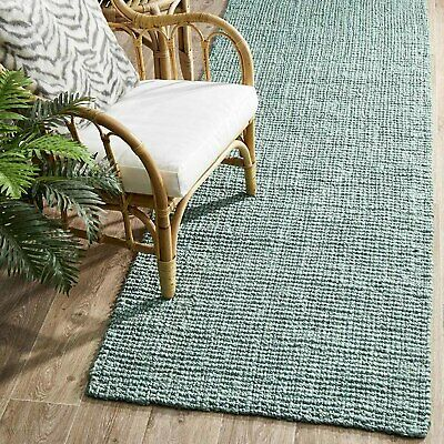 RAMONA NATURAL CHUNKY JUTE SOFT BLUE FLOOR RUNNER RUG 80x400cm **FREE DELIVERY**