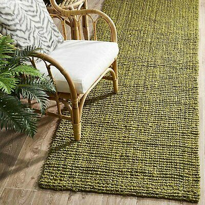 RAMONA NATURAL CHUNKY JUTE GREEN FLOOR RUNNER RUG 80x400cm **FREE DELIVERY**