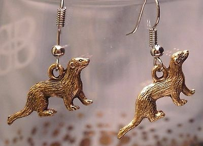 Ferret charm earrings, goldtone ferret jewelry weasel, fuzzie, fert, polecat
