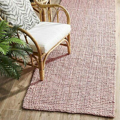 RAMONA NATURAL CHUNKY JUTE SOFT PINK FLOOR RUNNER RUG 80x400cm **FREE DELIVERY**