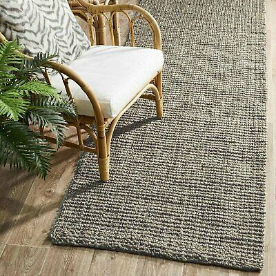 RAMONA NATURAL CHUNKY JUTE SILVER GREY RUNNER RUG 80x300cm **FREE DELIVERY**