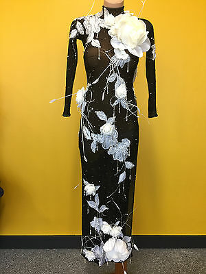 Ladies Black and White Lace Latin Dress Size 10 to 12 AU