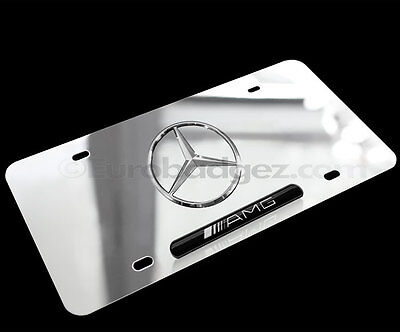 BRAND NEW 3D Logo Mercedes Benz Chrome Stainless Steel AMG VANITY LICENSE PLATE