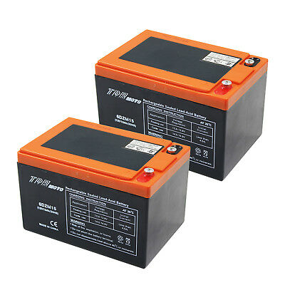 2 X AGM 12V 15AH SLA DEEP CYCLE Battery SCOOTER GOLF CART BUGGY Bike wheelchair