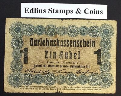 1916 1 Marks Banknote Germany circulated condition