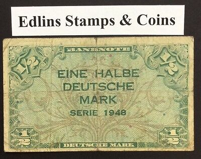 1948 1/2 Marks Banknote Germany circulated condition
