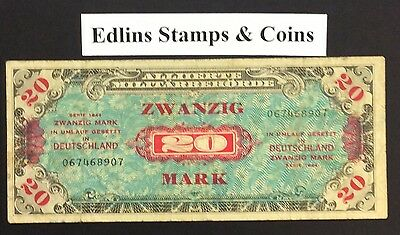 1944 20 Marks Banknote Germany 067468907 circulated condition