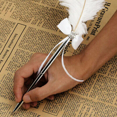 Wedding Ostrich Feather White Quill Guest Pen with Diamante & Bowknot Book