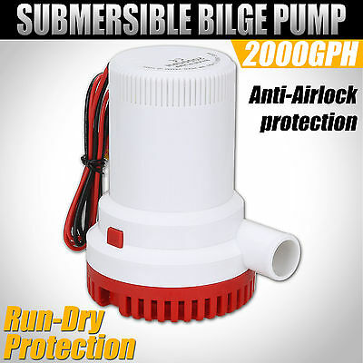 12V Submersible Bilge Water Pump Fishing Boat Caravan Campervan Camping 2000GPH