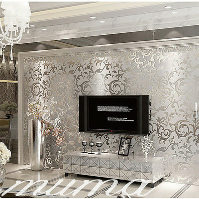 10M Luxury Silver 3D Victorian Damask Embossed Wallpaper Rolls Home Art Decor