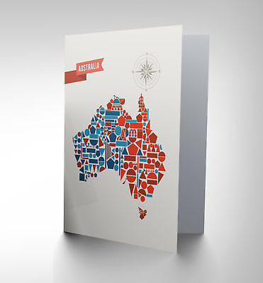 Australia Geometric Map Shapes Birthday Gift Blank Greetings Card Cp1049