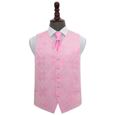 DQT Diamond Patterned Light Pink Mens Wedding Waistcoat Cravat Set FREE Pin