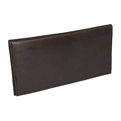 Mens Wallet Checkbook Cover Black Leather Slim New