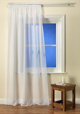 Como Plain Voile Curtain Panel Muslin Effect available in White or Cream