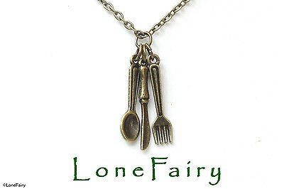 Knife Fork & Spoon Cutlery Plated Chain Necklace Choose Colour & Length Chef
