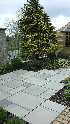 Grey Indian Sandstone Paving Patio Slabs. 18-25mm