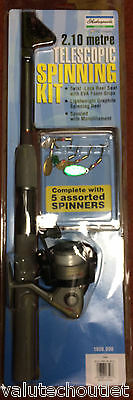 2.10 Shakespeare Metre Telescopic Spinning Kit with Reel & Assorted Spinners