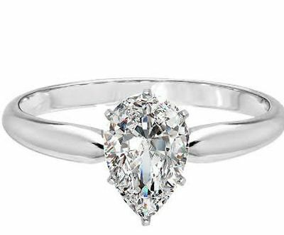 1.00 ct Pear Cut Solitaire Engagement Wedding Ring In Solid Real 14K White Gold