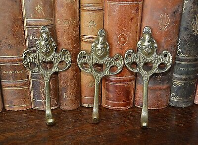 Antique Set of 3 French Brass Small Cherub Hooks