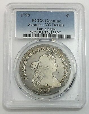 1798 $1 Draped Bust Dollar PCGS Genuine Scratch-VG Details Large Eagle