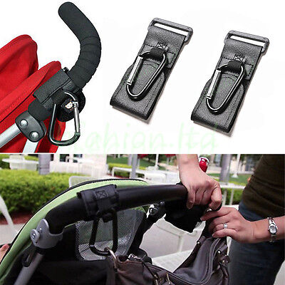 2Pcs Baby Stroller Pram Wheelchair Accessory Pushchair Hanger Metal Black Hooks