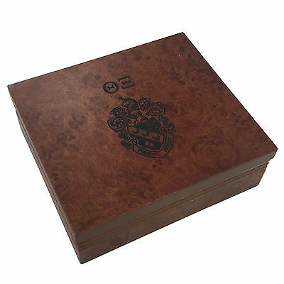 Theta Xi  Brown Marble Wood Pin/Watch Box w/ Letters & Crest