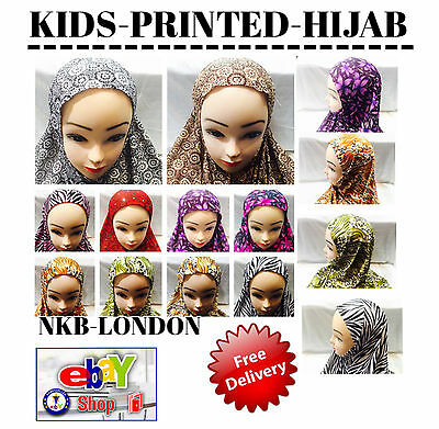 Muslim Ladies Children Kids Readymade Hijab Wrap Hijab  Scarf Printed Hijab Wrap