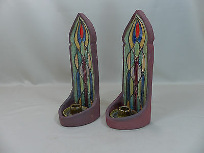 Antique Arts and Crafts Pottery Wall Candle Sconces Stained Glass Decoration