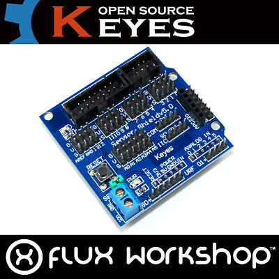 Arduino UNO I/O Sensor Genuine Keyes Shield V5 LCD IIC Blue SD URF Flux Workshop