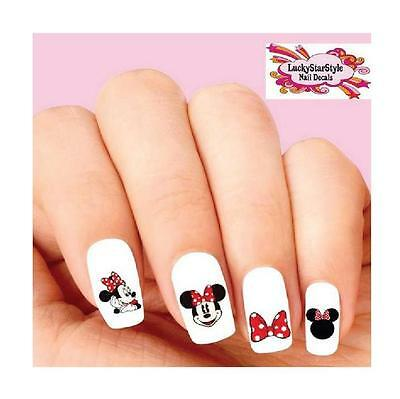 Waterslide Nail Decals Set Of 20 Minnie Mouse With Red Bow Orted