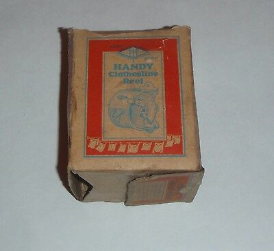 Vintage 1940's Handy Clothesline Reel (Red) in Box Excellent Condition