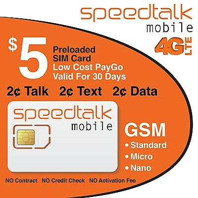 SpeedTalk Mobile Prepaid Triple Cut GSM Sim Card NO CONTRACTPreloaded with $5.00