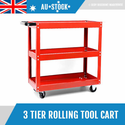 Garage Tool Storage Service Cart 3 Tier Layer Parts Trolley Workshop Shelf