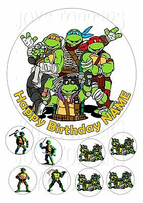 """Turtles Cake Topper Round Edible  Icing Frosting 7.5""""+8 Cupcake"""