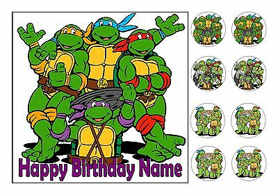 """Turtles Square Edible Iced Icing Frosting 7.5""""+8 Cupcake Toppers"""