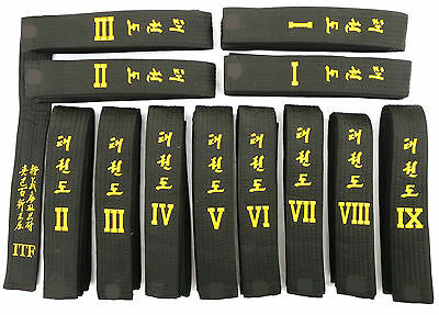 ITF TAEKWONDO BLACK BELTS - Correct lengths Plain or with TENETS and GRADE