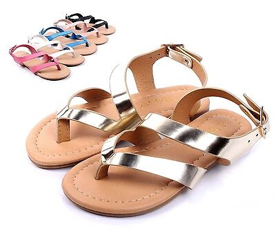 876adc485 Gold Cute Slip On Kids Strappy Summer Sandals Girls Flat Youth Shoes Size 9