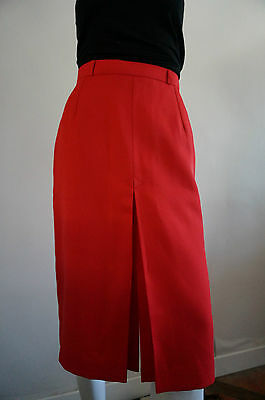 jUPE CRAYON rouge T 36 38 droite VINTAGE VTG RETRO red skirt Pin UP secretary