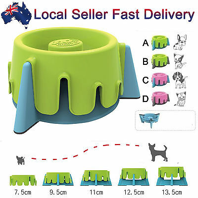 Slow Feed Dog Cat Pet  Food Water Bowl Feeder Dishes 5 Adjustable Heights