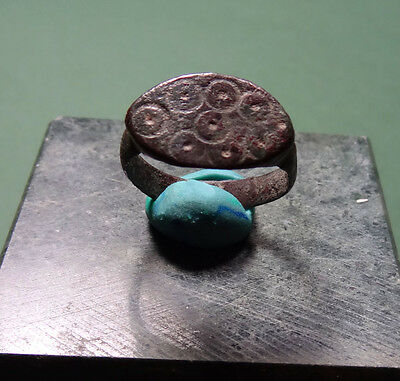Ancient Magical Eye Ring Bronze Roman 100-300 Ad