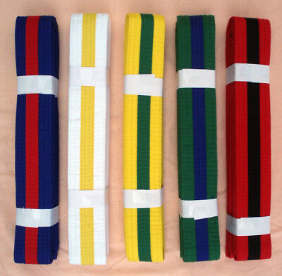 STRIPED BELTS For Taekwondo - Karate - and most Martial Arts - GREAT QUALITY