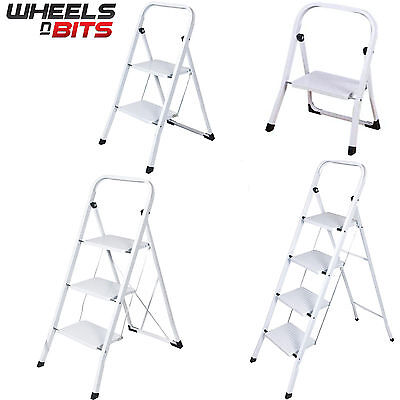 Foldable 1 2 3 4 Step Steel Ladder Non Slip Tread Stepladder Safety Kitchen