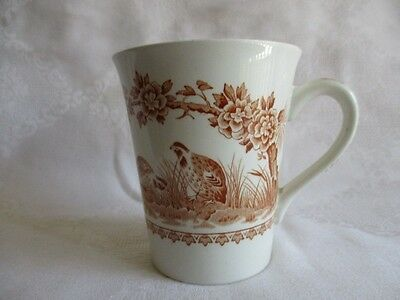 """Antique Quail Brown Coffee Mug Cup by Furnivals Brown Birds Flowers Bands 3 3/4"""""""