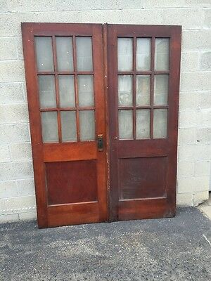 Cm 41 One Pair Antique Pine Beveled Glass French Doors