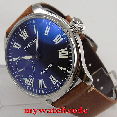 44mm PARNIS black dial luminous marks Roman numeral 6497 hand winding mens watch