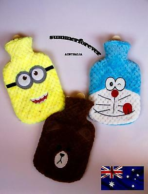 HOT WATER BOTTLE Winter Warm Rubber Bag with Cartoon Cover Relaxing Warmer Cover