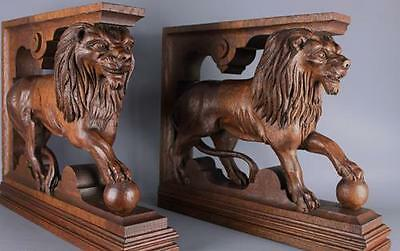 Antique French Pair of Hand Carved Wood Lion Statues