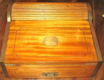 Antique Sea Captain's Portable Roll-Top Writing Desk - c1800s