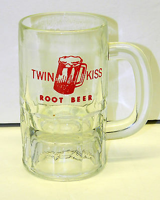VTG TWIN KISS ROOT BEER Heavy Glass Mug Glass Red Logo